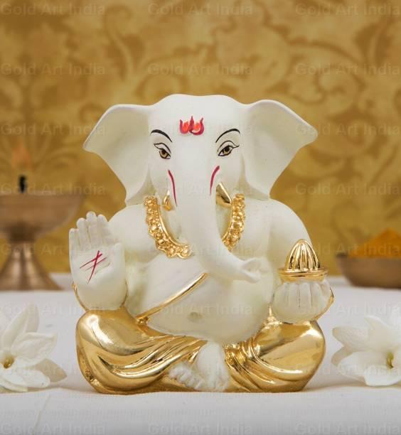 Gold Art India Gold plated Off white appu Ganesh (5x4x3cm)/ Ganesha online/ God ganesh idol Decorative Showpiece  -  5 cm