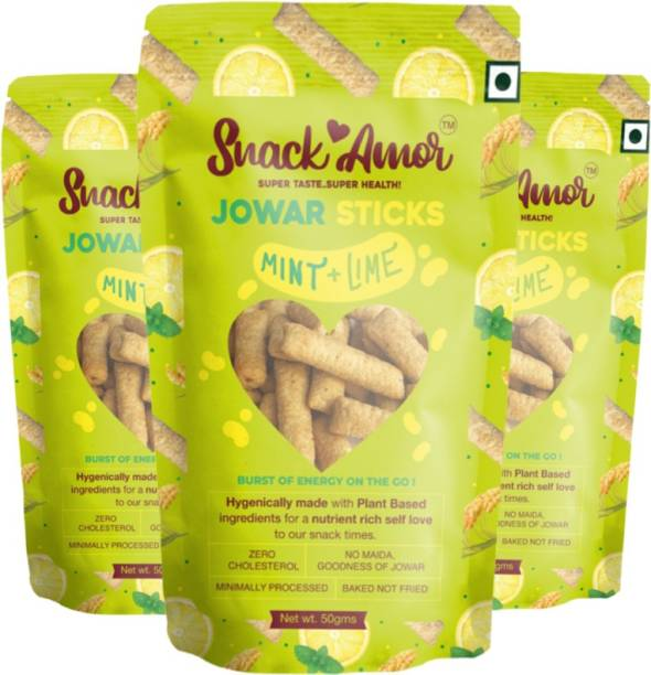 Snack Amor Jowar Sticks Flavors of Mint & Lime 100% Roasted & Healthy Snack, No Maida, Rich in Protein, 100% Vegetarian Product ( Pack of 3, 50 G Each )