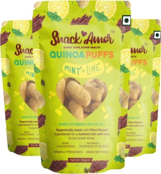 Snack Amor Quinoa Puffs Flavors of Mint & Lime 100% Roasted & Healthy Snack, No Maida, Rich in Protein, 100% Vegetarian Product ( Pack of 3, 50 G Each Pack )