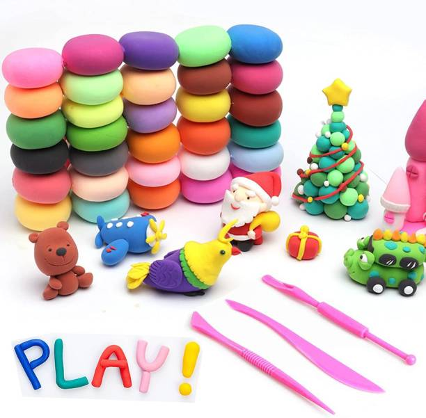 OBAMA DIY Colourful Non-Toxic Modeling Air Dry Bouncing Clay with Tools (2 Set 24 Pcs)
