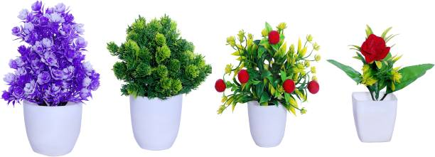 S-Biv Multicolor Artificial Flower And Plant For Home Decor or Office Décor Also Plant Suitable For Table , Flower & Plant Specially Decor For Bed Room Decoration ( Pack of 04 RED GREEN PURPLE MULTI) Bonsai Wild Artificial Plant  with Pot