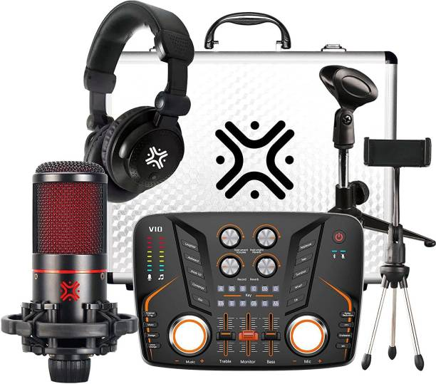 Xtreme Acoustics XA-V10-C , V10 combo kit with condenser microphone and headphones for live streaming, podcast and karaoke, Audio Interface