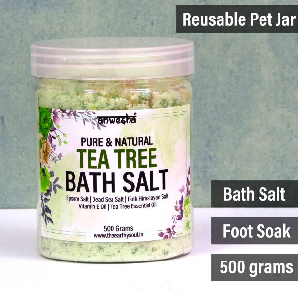 Anwesha Tea Tree Natural & Pure Bath Salt Foot Soak - 500g - With Epsom Salt   Dead Sea Salt   Pink Himalayan Salt   Essential Oil