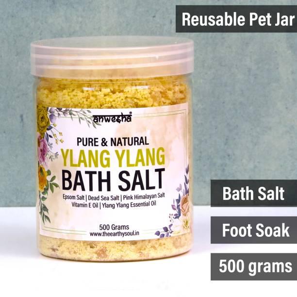 Anwesha Ylang Ylang Natural & Pure Bath Salt Foot Soak - 500g - With Epsom Salt   Dead Sea Salt   Pink Himalayan Salt   Essential Oil
