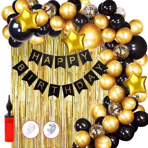 Hemito Solid 61pcs Birthday Banner Golden Foil Curtain Metallic Confetti Balloons With Hand Balloon Pumo And Glue Dot for Boys Girls Wife Adult Husband Mom Dad/Happy Birthday Decorations Items Set Balloon