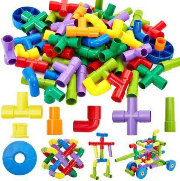 Krivan Pipe Puzzle Building Pipe Blocks for Kids Building Construction Blocks Assembly Game Puzzle For Kids (Multicolor)