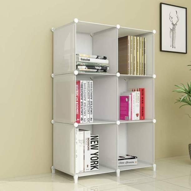 Sasimo Plastic Metal 6 Shelf Book Organizer Plastic Semi-Open Book Shelf