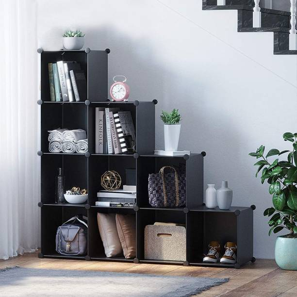 Sasimo Plastic Metal 10 Shelf Book Organizer Plastic Semi-Open Book Shelf