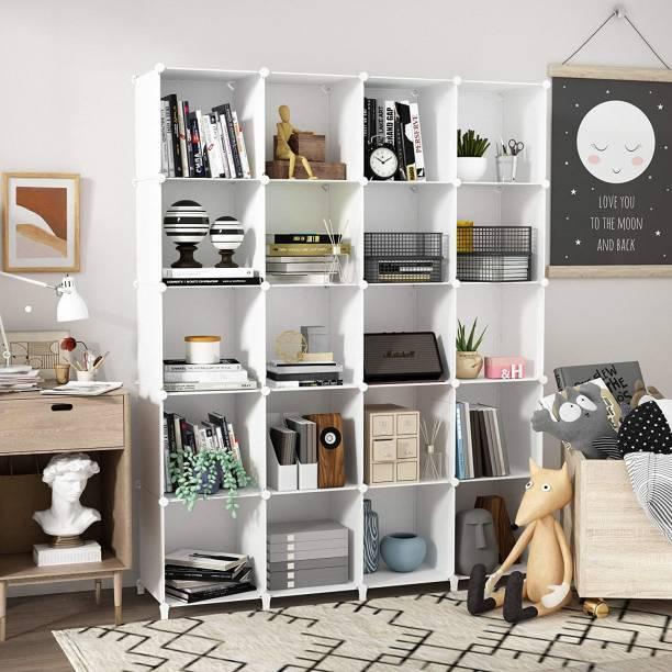 Sasimo Plastic Metal 20 Shelf Book Organizer Plastic Open Book Shelf