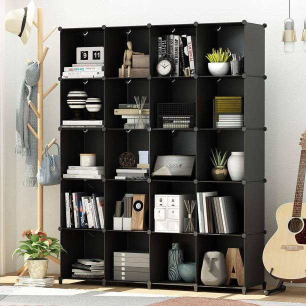 Sasimo Plastic Metal 20 Shelf Book Organizer Plastic Semi-Open Book Shelf