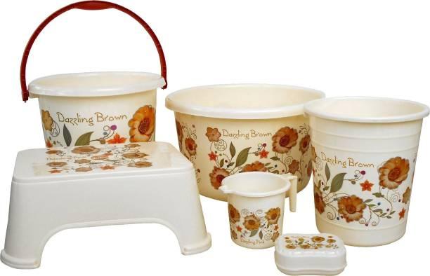 Sunlight unbreakable Flower printed Balti 15.0 Ltr, Plastic Bucket 20.0 Ltr, Round Waste Container 7.0 Ltr, Mug 1.0 Ltr, Soap Dish, Comfort Stool Cream 49 L Plastic Bucket