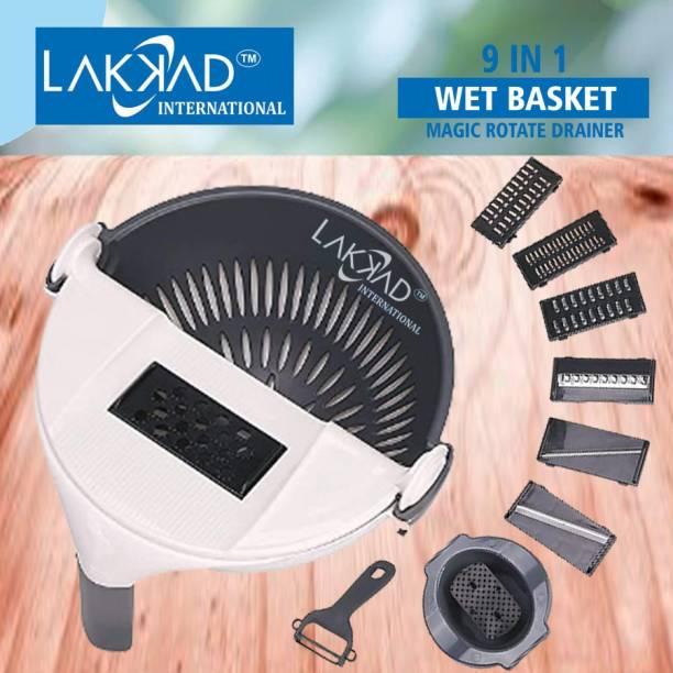 LAKKAD INTERNATIONAL 9 In 1 Wet Basket, Multi Function Magic Rotate Vegetable Cutter Drain Basket Vegetable & Fruit Grater & Slicer
