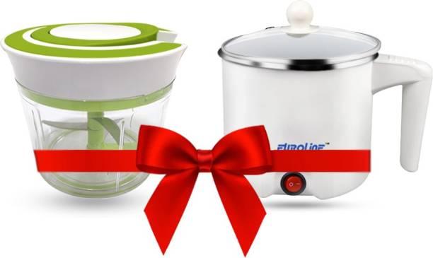 EUROLINE EL-100 Multifunction Cooker (White) & Chopper Green Travel Cooker, Egg Cooker, Rice Cooker