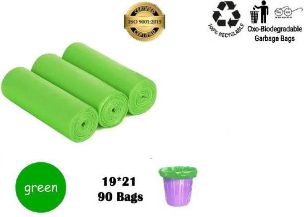 BadiWal clean 3 Pack of Green Garbage Bags - 19X21 | 3 Packs of 30 Pcs - 90 Pcs | Green Medium Disposable Dustbin Bags Medium 13 L Garbage Bag