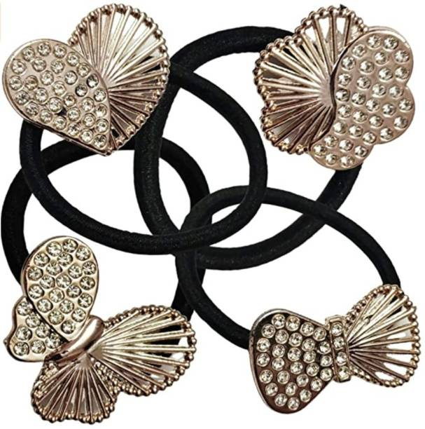 Myra Collection (4 Pcs BUTTTERFLY Set) Rhinestones Stud Elastic Cotton Stretch Small Size Ponytail Bands | Latest Fashion Lovers Hair Accessories for Baby Girls & Women Small Rubber Band Rubber Band