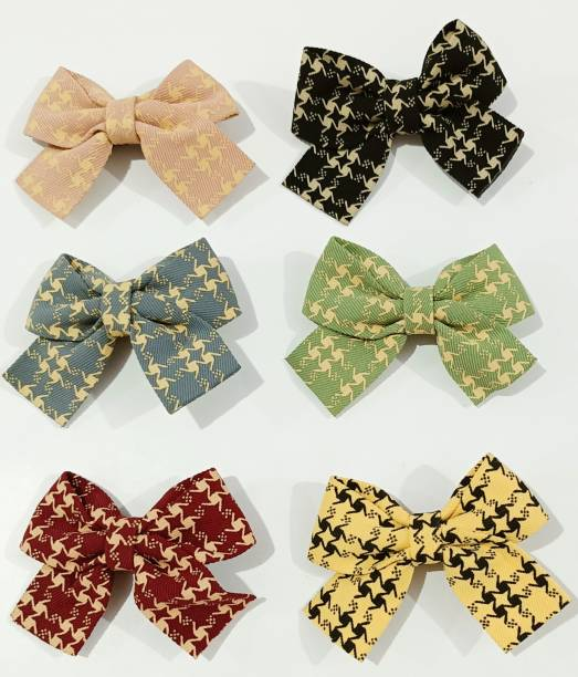 HOMEMATES Baby Girls Simple Clip Hair Bow Clips, Boutique Hair Pins Bow Barrettes for Infants Toddlers Fine Hair Accessories Hair Clips (Set Of 6) Hair Clip