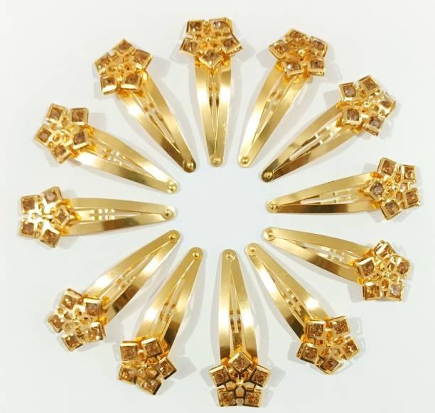 HOMEMATES Girls Women Stone TIC TAC Clips Hair Accessories Set 0f 12 pcs-Golden colour Hair Clip (Gold) Hair Clip
