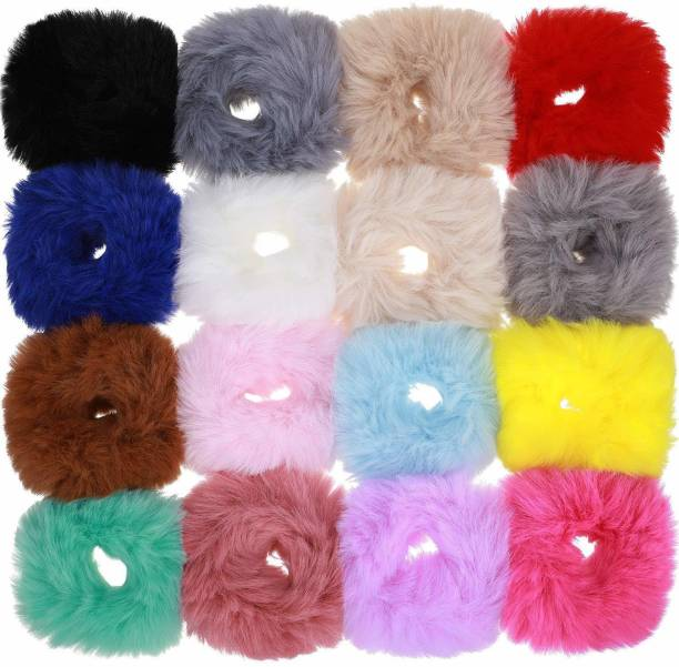 Panaah Fur Elastic Fluffy Faux Rope Furry Hair Scrunchies for Girls, Rubber Band Rubber Band (Multicolor) Rubber Band