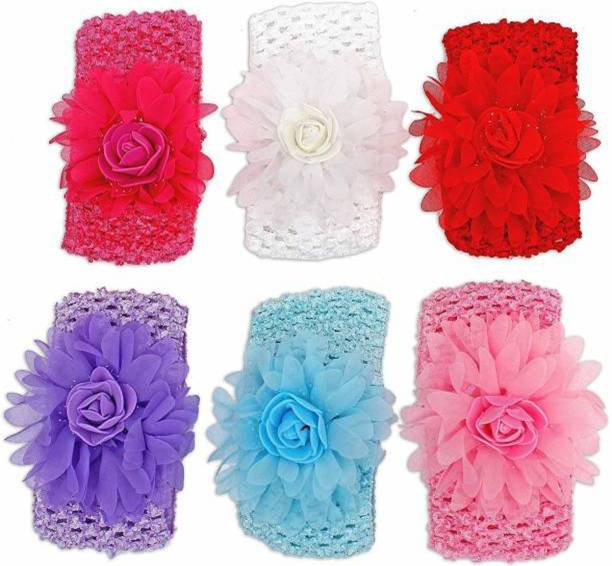 NANDANA COLLECTIONS Baby Girls Headbands Flower Lace Band Hair Accessories for Newborns Infants Toddlers Hair Band