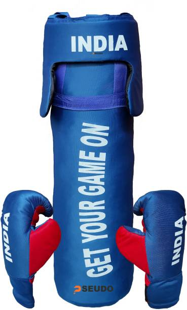 Pseudo By DealsUp Boxing Kit for Girls/Boys | Boxing Kit with Punching Bag, Head Gard and Gloves | Boxing Kit for Kids 52 Cms, Filled with Cotton,3 to 12 Years, Blue Boxing Kit