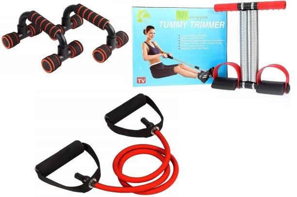 Manogyam Double Spring Tummy Trimmer with Single Toning Tube Exerciser With Push up Bar Combo Gym & Fitness Kit