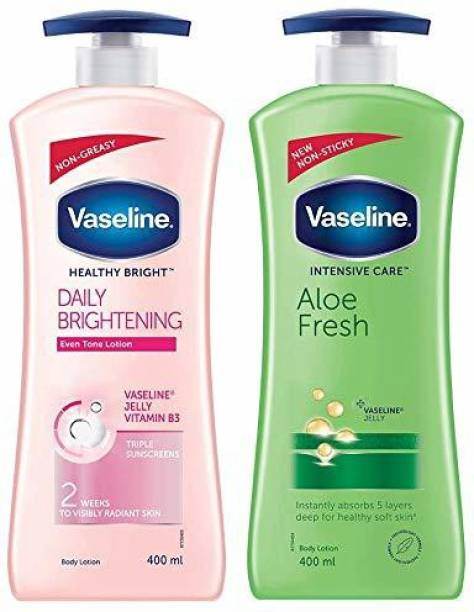 Vaseline IHealthy Bright Daily Brightening Dry Body Lotion, 400 ml And Intensive Care Aloe Fresh Body Lotion, 400 ml