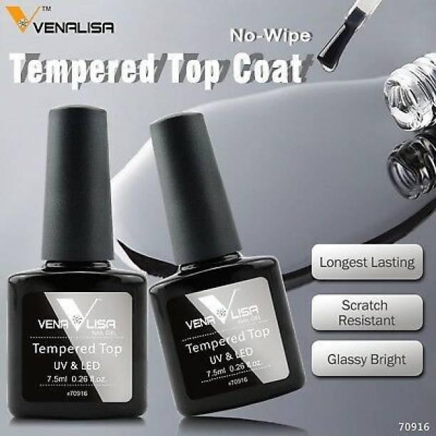 VENALISA 7.5ml Tempered Top Coat Nail Polish Gel UV LED Soak Off Shine Finish and Long Lasting silver