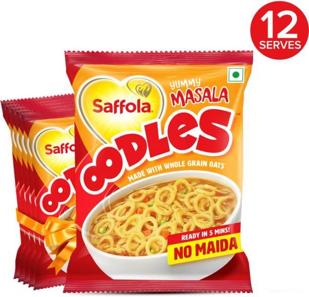 Saffola Oodles Yummy Masala Flavour, No Maida, Whole Grain Oats Instant Noodles Vegetarian