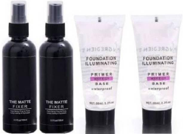 Kamz Beauty combo matte fixer and primer Primer Makeup Setting Fixer Spray Makeup Primer Base Primer- 300 ml Primer  - 300 ml