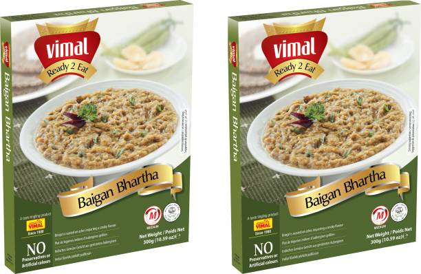 VIMAL Ready to Eat Baingan Bhartha Brinjale Vegetarian Meal with No Added Preservative and Colors | Pack of 2 | 300g Each 600 g