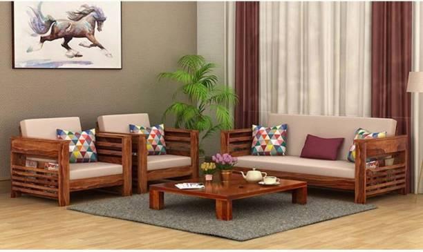 saamenia furnitures Fabric 3 + 1 + 1 Honey Teak Sofa Set