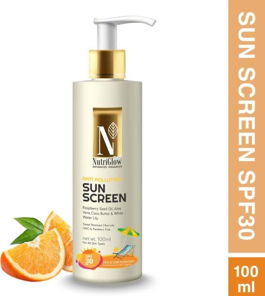 Nutriglow Advanced Organics Anti pollution SunScreen - UVA & UVB Protection - SPF 30 PA+++ (100 ml) - SPF 30