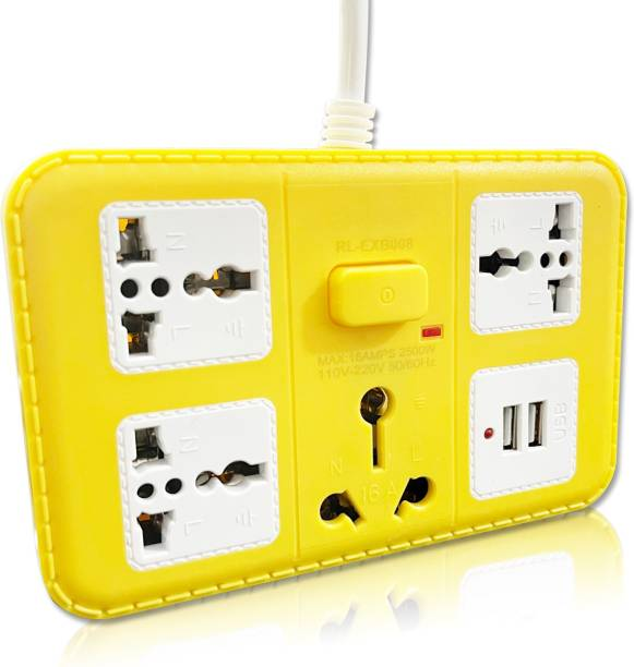 Pick Ur Needs 16A 3+1+2 -Way Extension Board (1 Power Plug) With 2 USB Socket 4  Socket Extension Boards
