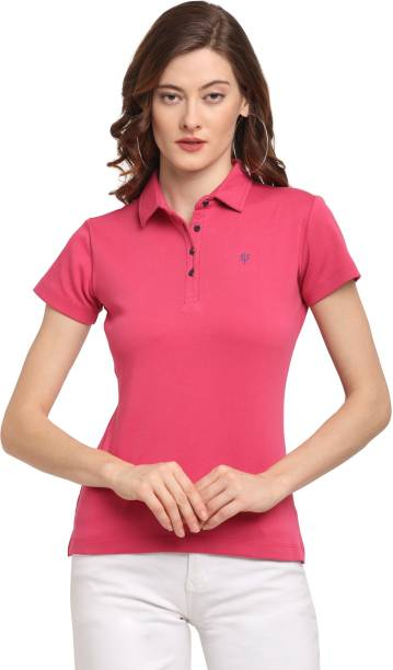 usi Solid Women Polo Neck Pink T-Shirt