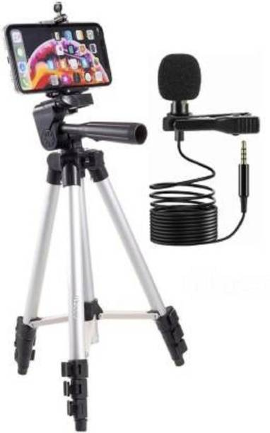 Firststep Genuine Tripod for Mobile Phone with Stand, Holder, Tripod Kit and Collar Microphone Kit with Voice Recording Filter Mic for Recording Tripod
