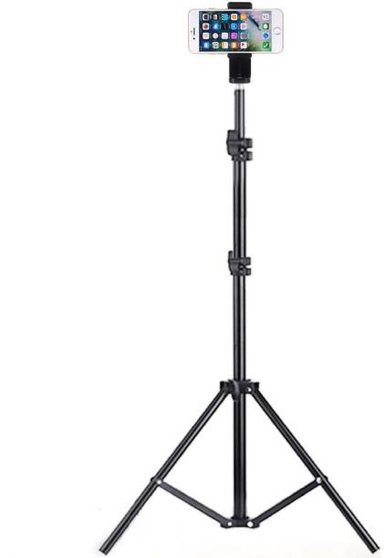 """Sulfur 6.9"""" feet (200cm) strong Metal mobile phone tripod/camera stand,beauty ring fill light stand, photography umbrella ,selfie video recording,MX Taka Tak, Vigo Video,YouTube , [2.1 meters tripod] with mobile holder clip Tripod Tripod, Tripod Kit, Tripod Bracket"""