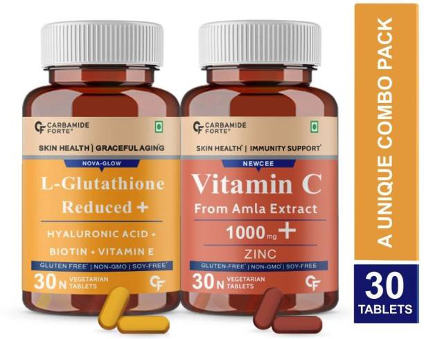 CF Japanese Reduced L Glutathione Tablet & Vitamin C from 1000mg Amla Combo for Skin