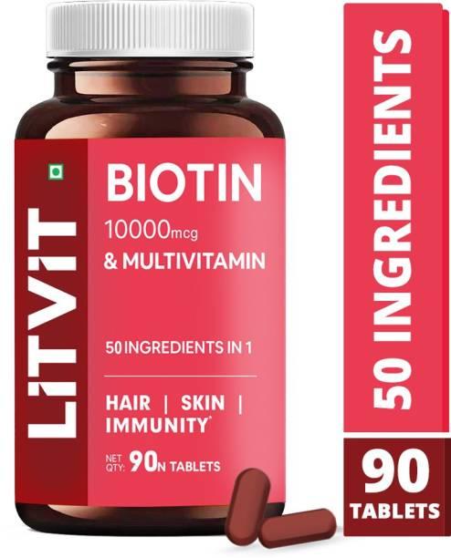 LITVIT Biotin 10000mcg with Multivitamin, Keratin & Bamboo Tablets For Hair Growth