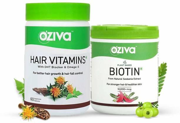 OZiva Plant Based Biotin + Hair Vitamins, For Stronger & Better Hair Growth - Combo Pack