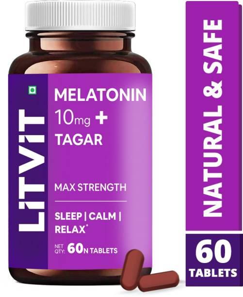 LITVIT Melatonin 10 mg Tablets with Tagara 250mg Sleeping Aid Pills for Deep Sleep