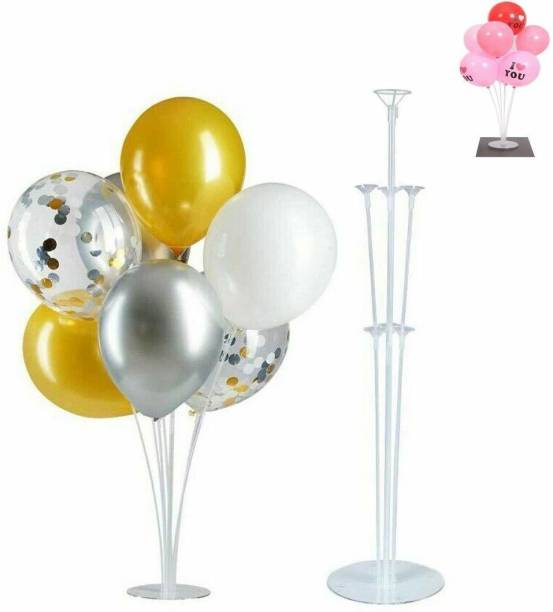 Smartcraft Solid Balloon Stand, Set of Clear Table Desktop Balloon Holder with 7 Balloon Sticks, 7 Balloon Cups and 1 Balloon Base for Birthday | Wedding Party, Holidays, Anniversary Decorations Balloon