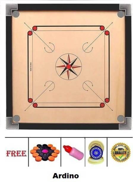 Ardino Matte Finish Large 32Inch Carrom Board with wooden Coins Striker Powder 80 cm Carrom Board
