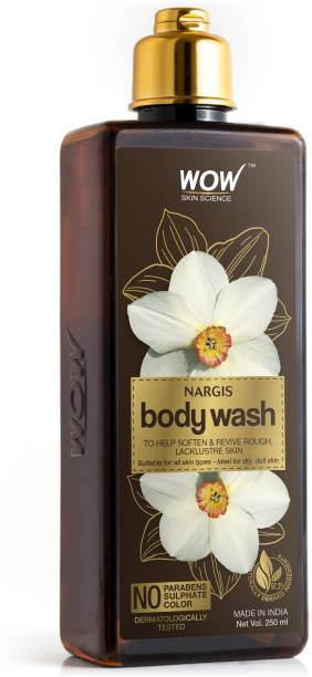WOW SKIN SCIENCE Nargis Body Wash - Soften & Revive Skin - for All Skin Types - No Parabens, Sulphate & Color - 250mL