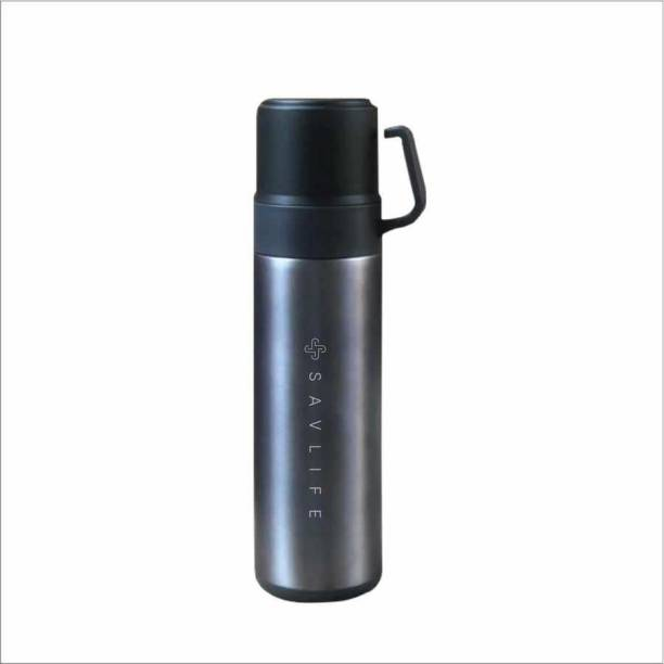 SAVLIFE Double wall Thermo steel flask keep Heat and cold vaccum insulated with two cup 600 ml Flask