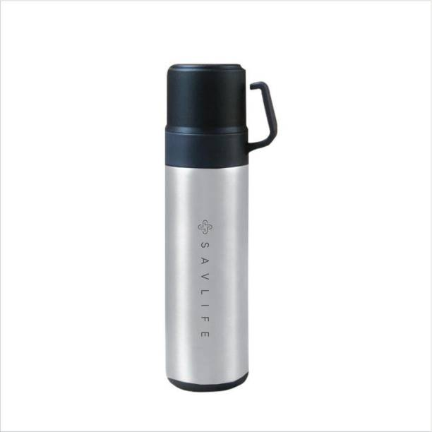 SAVLIFE Double cup Silver Thermo steel lid keep Heat and cold vaccum insulated 600 ml Flask