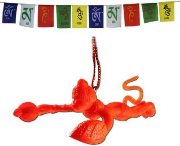 ShopTop Combo Of Orange Flying Hanuman Car Mirror Hanging and Tibetan Buddhist Prayer Flag Car Hanging Ornament