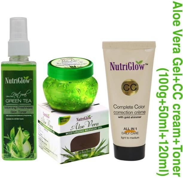 NutriGlow Skin Care CC Cream Perfect Radiance (50 ml) - Natural Green Tea Toner (50 ml) - Aloe Vera Gel (100 g) - Women Beauty Care Treatment