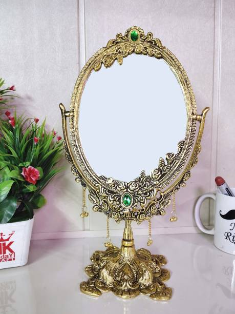 KridayKraft Beautifully Carved Ovel Shape Gold Plating Metal Hand Mirror for Makeup,Salon Mirror & Decorative Table Mirror Antique Item for Wedding Gifts...