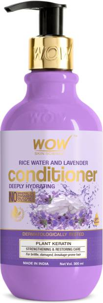 WOW SKIN SCIENCE Rice Water Conditioner with Rice Water, Rice Keratin & Lavender Oil for Damaged, Dry and Frizzy Hair - No Mineral Oil, Parabens, Silicones, Synthetic Color, PEG - 300mL