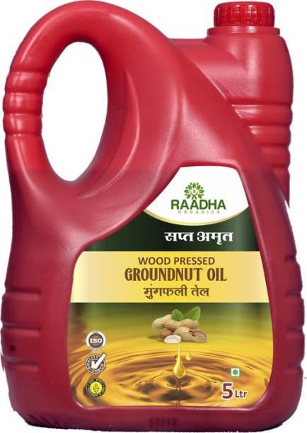 RAADHA ORGANICS Organic Woodpressed Garoundnut Oil|5 Ltr Groundnut Oil Can